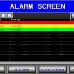 Alarm filler HMI screen