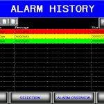 Alarm History filler HMI screen