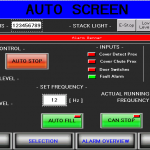 Auto filler HMI screen