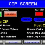 CIP filler HMI screen